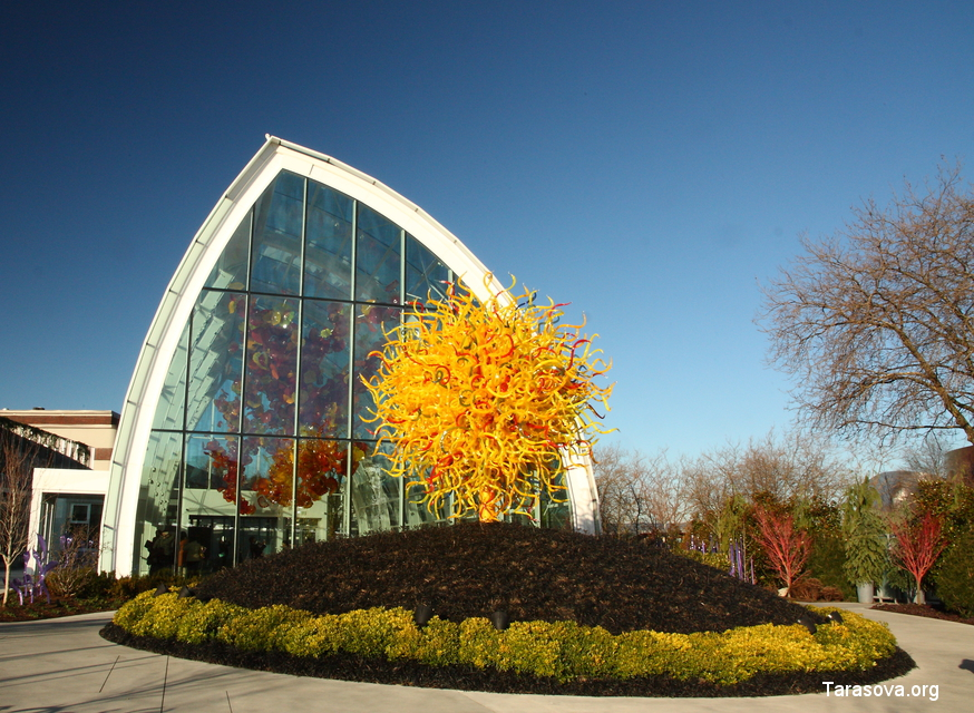 Инсталляция Солнце и теплица с цветами из стекла